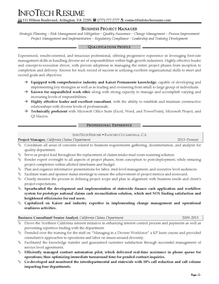 It Resume Samples Infotechresume
