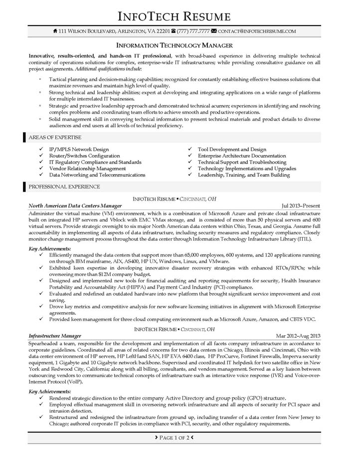it resume samples infotechresume - Sample Resume For Project Manager In Telecom